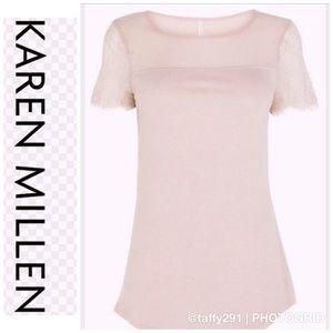 Karen Millen pink & lace short sleeve top -New